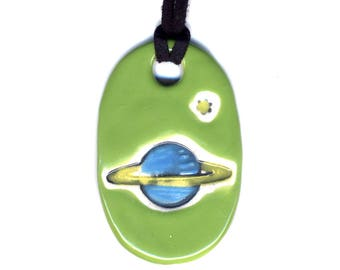 Saturn Ceramic Necklace in Blue and Lime Green