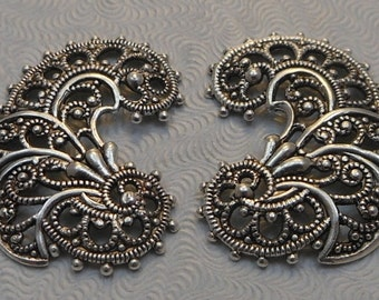 LuxeOrnaments European Filigree Antiqued Sterling Silver Plated Brass Pendants (Qty 1 left-right matched pair) 26x19mm A-30575-S