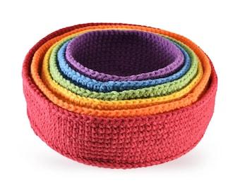 crochet nesting and stacking bowls, Montessori bowls, Waldorf bowls, set of bowls, rainbow bowls