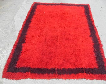 "Red shaggy rug, Vintage Turkish kilim rug, 88"" x 62"", area rug, kilim rug, kelim rug, vintage rug, bohemian rug, Turkish rug, rugs, red,"