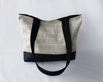 White & Black Geometric Print Tote Purse