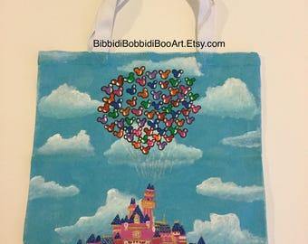 Disneyland Castle Flying in the clouds tote bag