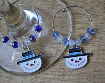 Snowman Wine Charms