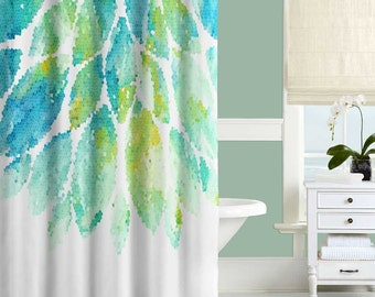 Turquoise Shower Curtain, Mint, Yellow, Blue and White Shower Curtain, Mosaic Shower Curtain, Mint Bath Curtain, Turquoise Bathroom Decor