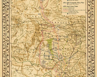 The Great Lonesome Dove ~ Comanche Moon Trails Map Print