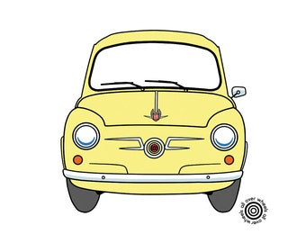 SEAT 600 T-SHIRT! classic Seat 600 choice of car and shirt colors! DTG printed on 100% cotton shirts Original art by Wheels All Over
