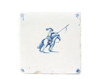 "Antique Tile Delft Blue White Tiles Dutch 5 1/8"" x 5 1/8"" 1600s Horse Warrior Spider Corner Pottery Home Decor Kitchen Delft FREE SHIPPING"