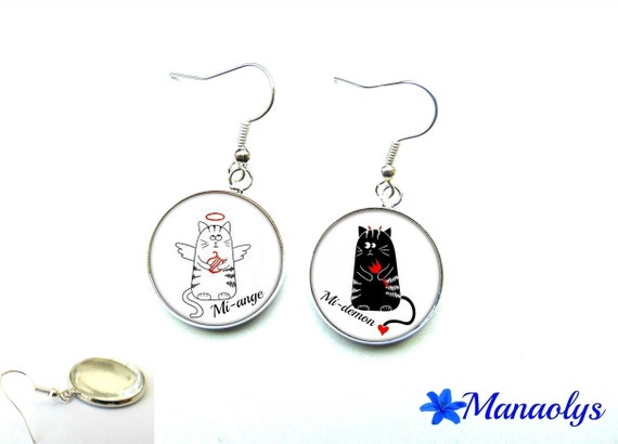 Cats, mi-ange, half-demon, 2110 glass cabochons earrings