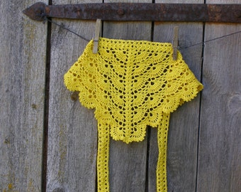 Lace crochet head scarf, Yellow cotton hair kerchief, summer accessories for girls, fits many sizes
