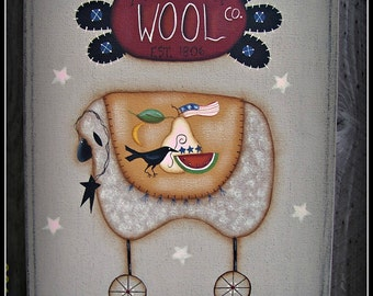 Sheep- Wool- 11 x 14 Gallery Canvas-Stars-Primitive Art-Home Decor Picture