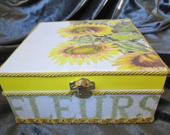 SALE Wooden box Sunflowers decoupage handcrafted