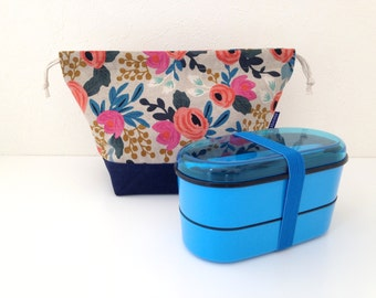 Bento bag, Les Fleures, bento box set, gift for her, lunch bag, tote bag, floral bag, eco friendly gift