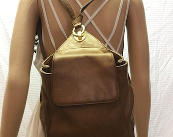 Backpack Bag, Tignanello, Brown Leather Backpack