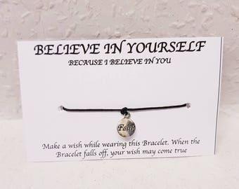 Wish Bracelet, Inspirational Bracelet, Inspirational Wish Bracelet, Believe wish Bracelet, Inspirational Gift, Good luck Gift