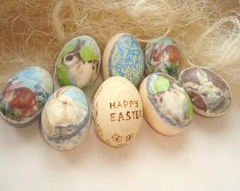 Set of Easter eggs. Easter wood eggs. Easter eggs. Wooden decorative eggs. Home decor. Spring eggs. Easter eggs