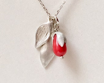 Coral & Silver Flora Necklace