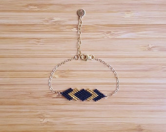 Gaia black 14 k gold plate bracelet and glass Miyuki beads