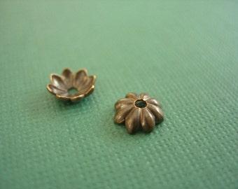 vintaj brass daisy bead cap 6mm, brass bead cap, daisy bead cap