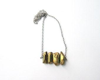 Mixed Metals Necklace Titanium Coated Gold Quartz Brass Bar Antique Silver Chain