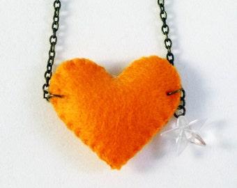 Girls felt necklace, Felt heart, orange felt, cristal star, felt necklace, charm necklace, gifts for girls, Handmade by Marumadrid