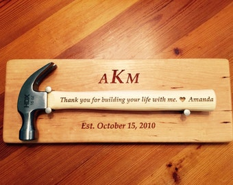 WEDDING HAMMER DISPLAY Plaque and 16  ounce  engraved hammer