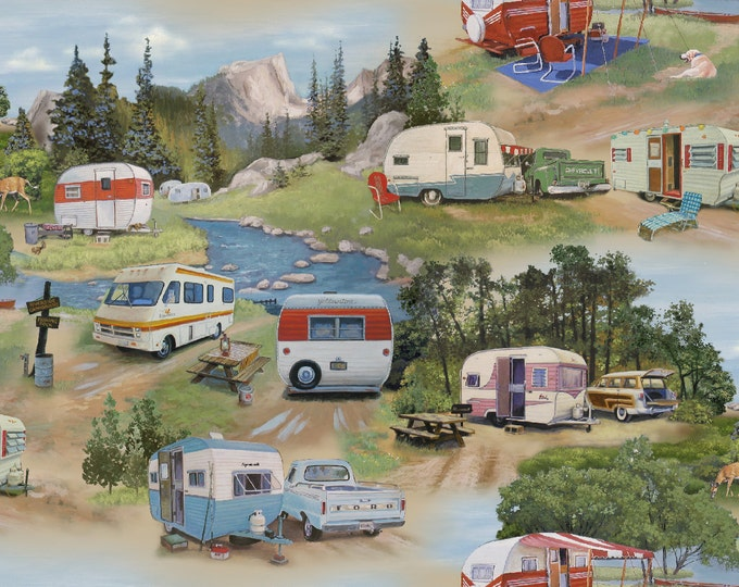 VINTAGE TRAVEL TRAILERS Green Campers Airstream Caravan - Cotton Quilt Fabric - by the Yard, Half Yard, or fq Fat Quarter