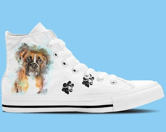 Boxer Dog Artwork High Top Shoes / Sneakers - Dog lovers shoes