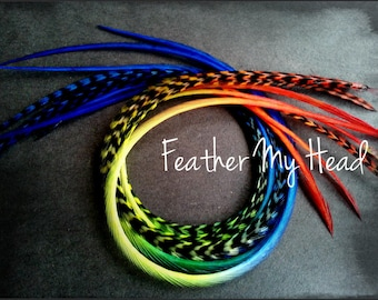 """Feather Hair Extensions - Multi Color Long 9""""-12"""" (23-30cm) - 5 Pc - Red Yellow Green Blue - Rainbow Skittles"""