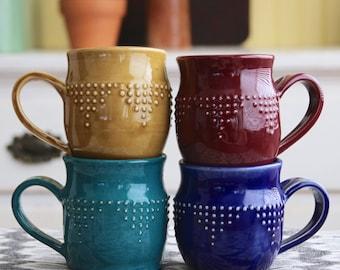 Stoneware Mug - Hand Thrown - 16 Color Choices - 12 oz. - Handmade Modern Dinnerware - MADE TO ORDER