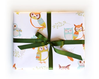 Birthday Wrapping paper, Owls, Forest, Woodland Gift Wrap