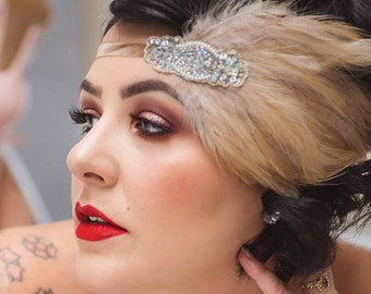 Silver 1920s Headband, Beige feather headband, great gatsby beaded headpiece, Downton Abbey Flapper Bridal wedding fascinator, blue feather