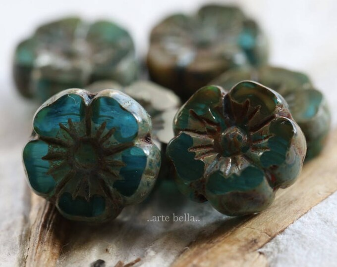 COASTLINE PANSY .. 6 Picasso Czech Glass Flower Beads 10mm (6149-6)