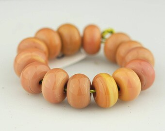 Peachy Keen Set #2 - Handmade Lampwork Glass Bead Set - Pink and Yellow
