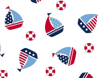 Double Gauze Fabric - Sailboats by Studio E 's Fun and Games II Collection - Choose Your Size