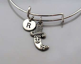 Curved dagger Bracelet, ornate dagger bangle, embellished dagger, Expandable bangle, Personalized bracelet, Charm bangle, Initial bracelet