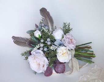 Cream Bohemian Silk Flower Bouquet With Feathers
