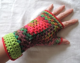 Wool crochet mittens