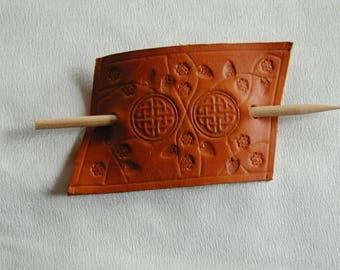 Leather Celtic Hair Slide