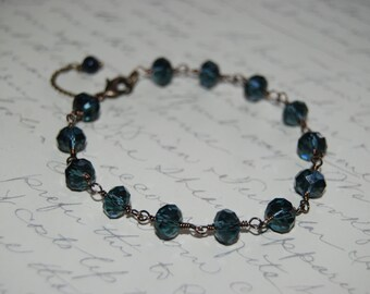 Artistic Wire Wrap Style Blue Crystal  Bracelet.