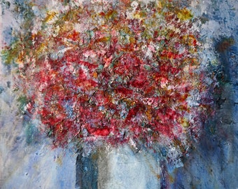 Abstract art painting bouquet of flowers. french painting on canvas frame. Abstract painting flower bouquet. Abstract painting on canvas