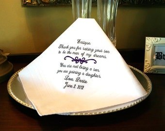 Father of the Groom Handkerchief - Hanky - Hankie  -  Man of  My  Dreams - NOT LOSING a SON - Gaining a daughter  - MisterandMrs