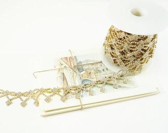 Diamond Gold Rhinestone Trim, Rhinestone Chain, Wedding Rhinestone Applique, Gold Clear Crystal Trim, 25mm ( 1 Feet Qty)
