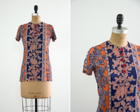 vintage 1960s blouse   1960s paisley orange blue shirt   psychadelic 60s top women