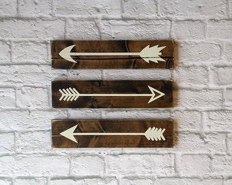 Rustic Wooden Arrows - 3 PIece Set, Farmhouse Decor, Wooden Arrow, Arrow Decor, Baby Room Decor, Wooden Arrow Wall Art