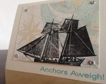 Anchors Aweigh Nautical Map and Ship - Screen-Printed Card / Change of Address Card