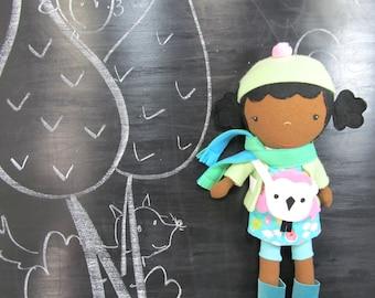 "Handcrafted STUDIO DOLL 15"" - Birdie Girl. Handmade, Doll, Girl, Toy, Plush, Children, Gift, Bird"
