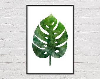 Monstera Leaf Poster, Watercolor Botanical Art Print, Tropical Wall Art, Monstera Deliciosa, Printable Poster, Watercolour Print, Large Art