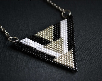 Black Silver White Triangle Bead loom jewelry GeometricNecklace Geometry Jewelry everyday jewelry gift for her