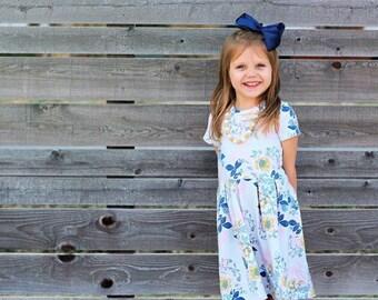 Knee Length Pleated Peplum Dress, toddler and girl sizes
