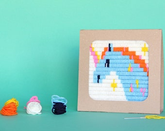 Stitching for beginners, Unicorn tapestry kit, Needlepoint Kit for Children, Learn to cross-stitch, DIY kids kit, Gift craft, Sozo, Unicorn